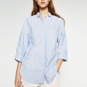 Zara Striped Oversized 3/4 Slv Shirt Blue M